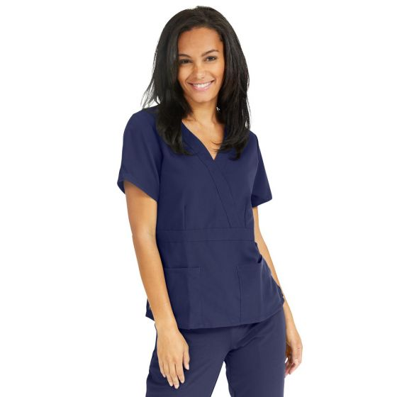 Park ave Women's 2-Pocket Mock Wrap Scrub Top - Shop All PF62687 by Ave