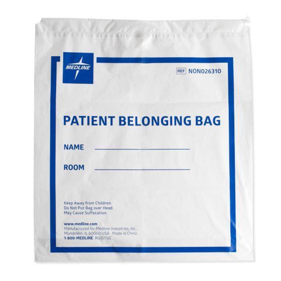 Medline Plastic Patient Bag Drawstring 18x20 White 25Ct NON026310Z by Medline