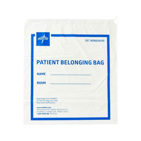 Medline Plastic Patient Bag with Drawstring - Shop All PF06169 by Medline