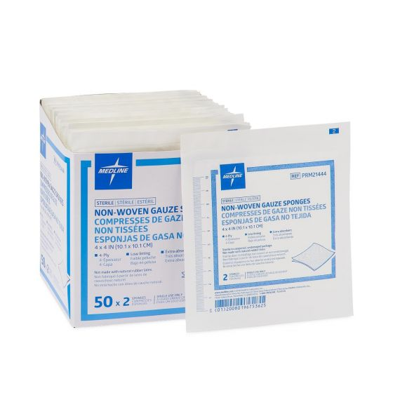 Medline Sterile Nonwoven Drain Sponge 4ply 4x4 50/BX PRM21444H by Medline