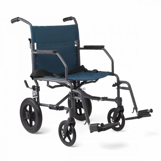 Basic Aluminum Transport Chair Microban 12in Teal 1Ct MDS808200KDT by Medline