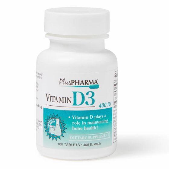 Vitamin D3 Tablets, 400 IU, Bottle of 100 Tablets