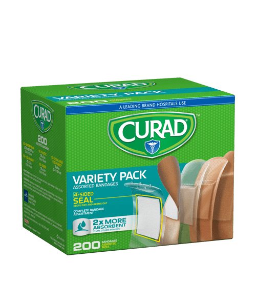 CURAD Adhesive Bandage Variety Pack 200 Bandages CUR0800RBH by Medline