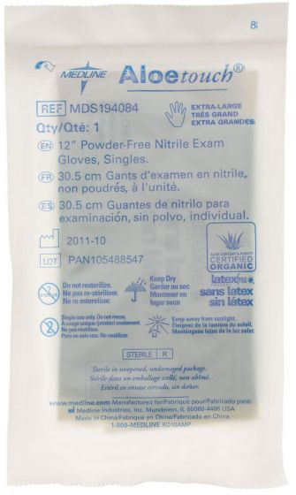 Aloetouch 12in Nitrile Exam Glove Sterile Singles XL 400Ct MDS194084 by Medline