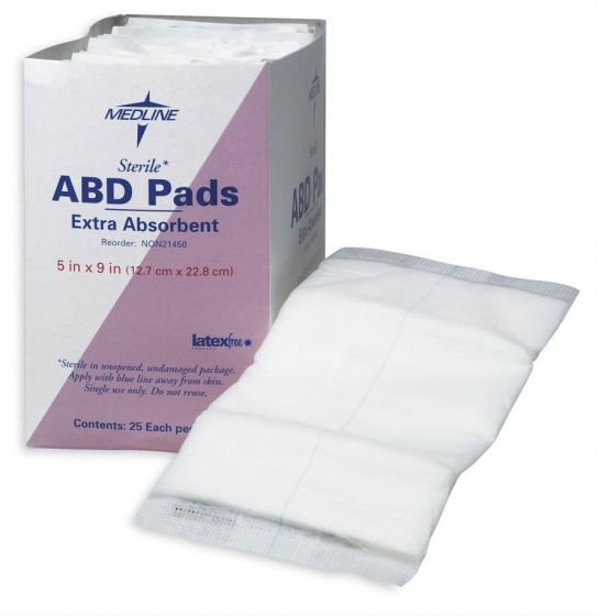"""Medline St Extra Absorbent Abdominal Pad 5""""x9"""" 25 Ct NON21450H by Medline"""