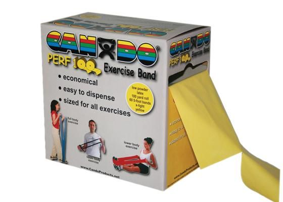 CanDo Yellow Perf 100 Exercise Band Xlight 100yd 1Ct MDSP105191 by Fabrication Enterprises Inc