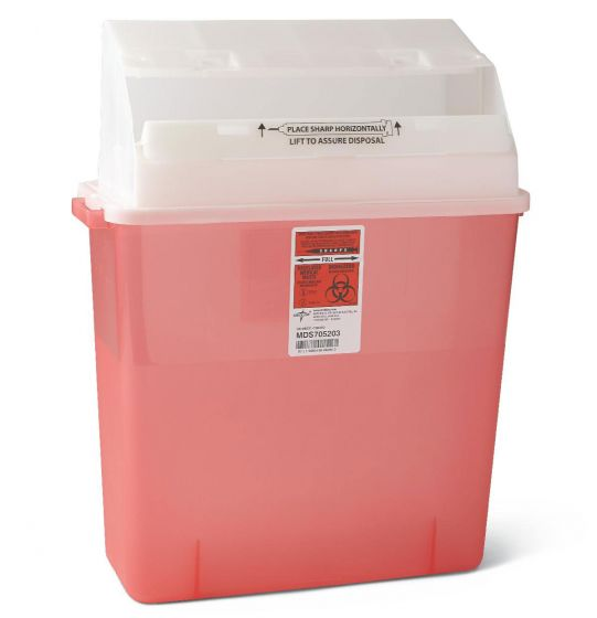 Medline Wall-Mount Sharps Container 3-Gallon Red 12Ct MDS705203 by Medline