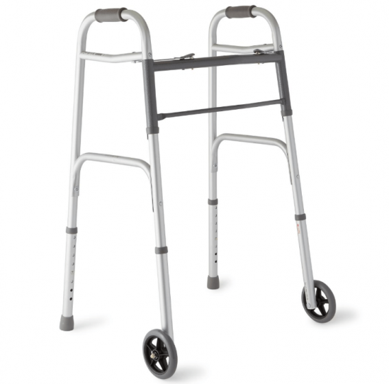 2-Button Folding Walker with 5 in.-dia Wheels