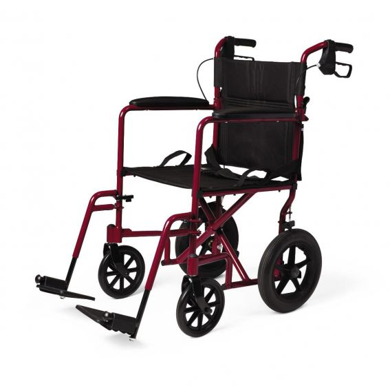 Medline Basic Aluminum Transport Chair 12in Red 1Ct MDS808210ARE by Medline