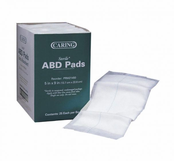 "Medline Caring Sterile Abdominal Pad 5""x9"" 400 Count PRM21450 by Medline"