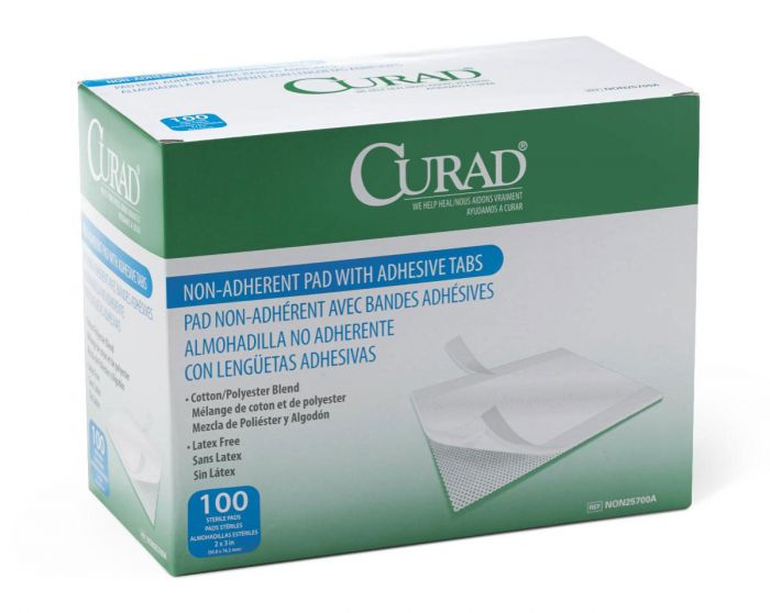 CURAD Sterile Nonadherent Pad w Adhesive Tab 2x3 1200Ct NON25700A by Medline