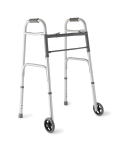 Medline 2-Button Folding Walker w 5in Wheels 300lb 1Ct