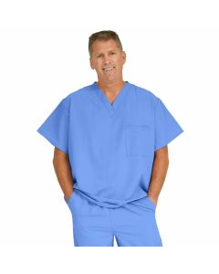 Fifth ave Unisex V-Neck Scrub Top with 1 Pocket, Size L, Ceil Blue