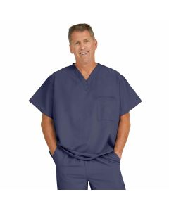 Fifth ave Unisex V-Neck Scrub Top with 1 Pocket, Size XL, Navy