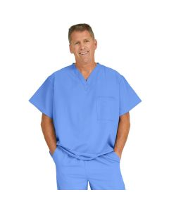 Fifth ave Unisex V-Neck Scrub Top with 1 Pocket, Size M, Ceil Blue