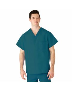 AngelStat Unisex Reversible V-Neck 2-Pocket Scrub Top with Angelica Color-Coding, Size 4XL, Peacock