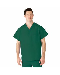 AngelStat Unisex Reversible V-Neck 2-Pocket Scrub Top with Angelica Color-Coding, Size XL, Emerald