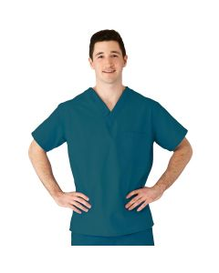 AngelStat Unisex Reversible V-Neck 2-Pocket Scrub Top with Angelica Color-Coding, Size L, Peacock