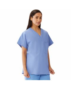 Unisex 100% Cotton Reversible V-Neck 2-Pocket Scrub Top, Size XS, Ceil Blue