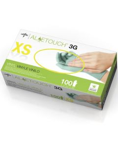 For California Residents Only, Aloetouch 3G Powder-Free Stretch Vinyl Exam Gloves, Size XS, 100/Box, Case of 10 Boxes