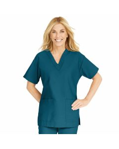 ComfortEase Women's V-Neck Tunic Scrub Top with 2 Pockets