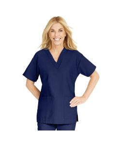 ComfortEase Women's V-Neck Tunic Scrub Top with 2 Pockets, Size 3XL