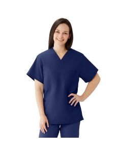 ComfortEase Unisex Reversible V-Neck 2-Pocket Scrub Top with Medline Color-Coding, Size 2XL, Midnight Blue