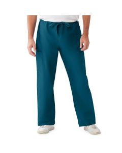 ComfortEase Unisex Non-Reversible Drawstring Cargo Scrub Pants with Medline Color-Coding, Size XS Tall Inseam, Caribbean Blue