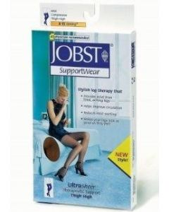 Jobst UltraSheer Thigh-High Compression Stockings with Closed Toe, Black, 8-15 mmHg, Size S, One Pair