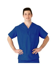 AngelStat Unisex Reversible V-Neck 2-Pocket Scrub Top with Angelica Color-Coding, Size S, Sapphire
