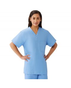 AngelStat Unisex Reversible V-Neck 4-Pocket Scrub Top with Medline Color-Coding, Size S, Ceil Blue
