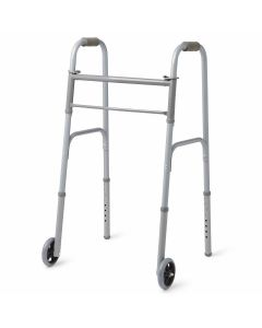 Medline 2-Button Folding Walker w 5in Wheels 400lb 4Ct