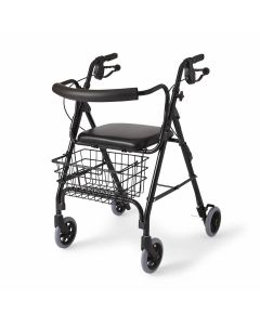 Medline Deluxe Rollator with Curved Back Black 1Ct