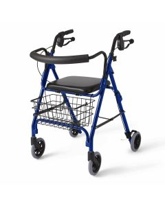 Medline Deluxe Rollator with Curved Back Blue 1Ct