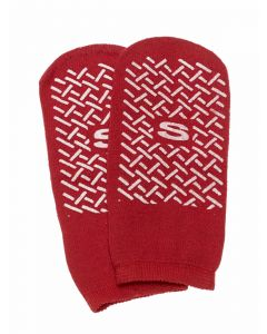 Single-Tread Patient Slippers, Red, Size S, 1 Pair