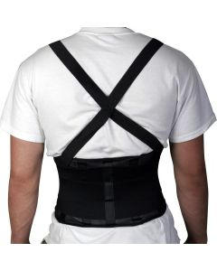 "Medline Back Support with Suspenders, Black, Size M (30""-34"" Waist), One"