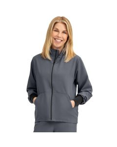 Self-Piping Track Jacket with Pocket Charcoal Size XXS