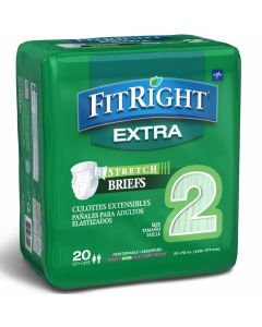 Medline FitRight Extra Stretch Disp Brief L/XL 80Ct