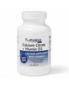 Calcium Citrate with Vitamin D3 Tablets, 500mg Calcium, 500 IU Vitamin D3, Bottle of 100