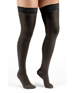 Anti-Embolism Stocking, Thigh-High Support Stockings, Black, 8-15 mmHg, Size M, One Pair