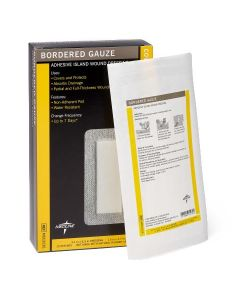 """Sterile Bordered Gauze Adhesive Island Wound Dressing, 3"""" x 6"""" with 1.5"""" x 4"""" Pad, Box of 15"""