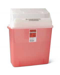 Medline Wall-Mount Sharps Container 3-Gallon Red 12Ct