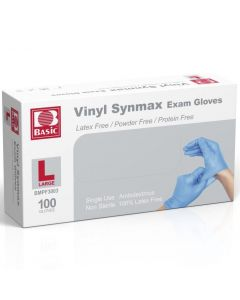 Stretch Vinyl Exam Gloves, Powder-Free, Size L, 100 Count, Case of 10 Boxes (Total of 1000 Gloves)
