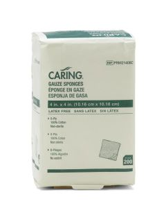 Caring NS Woven Cotton Gauze Sponge 8ply 4x4 200Ct
