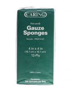 Caring NS Woven Cotton Gauze Sponge 12ply 4x4 2000 Ct