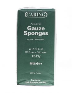 Caring NS Woven Cotton Gauze Sponge 12ply 4x4 200 Ct