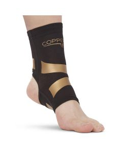 Copper Fit Ankle Compression Sleeve with Kinesiology Bands, Size M