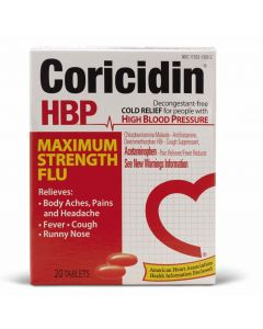 Coricidin HBP Maximum Strength Flu Tablets 20 Count