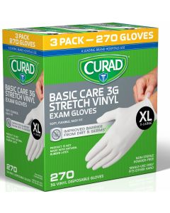 CURAD 3G Powder-Free Vinyl Exam Gloves, Size XL