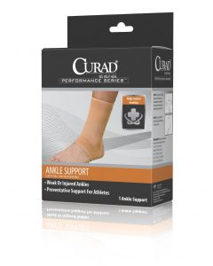 CURAD Performance Elastic Open Heel Ankle Support M 4Ct